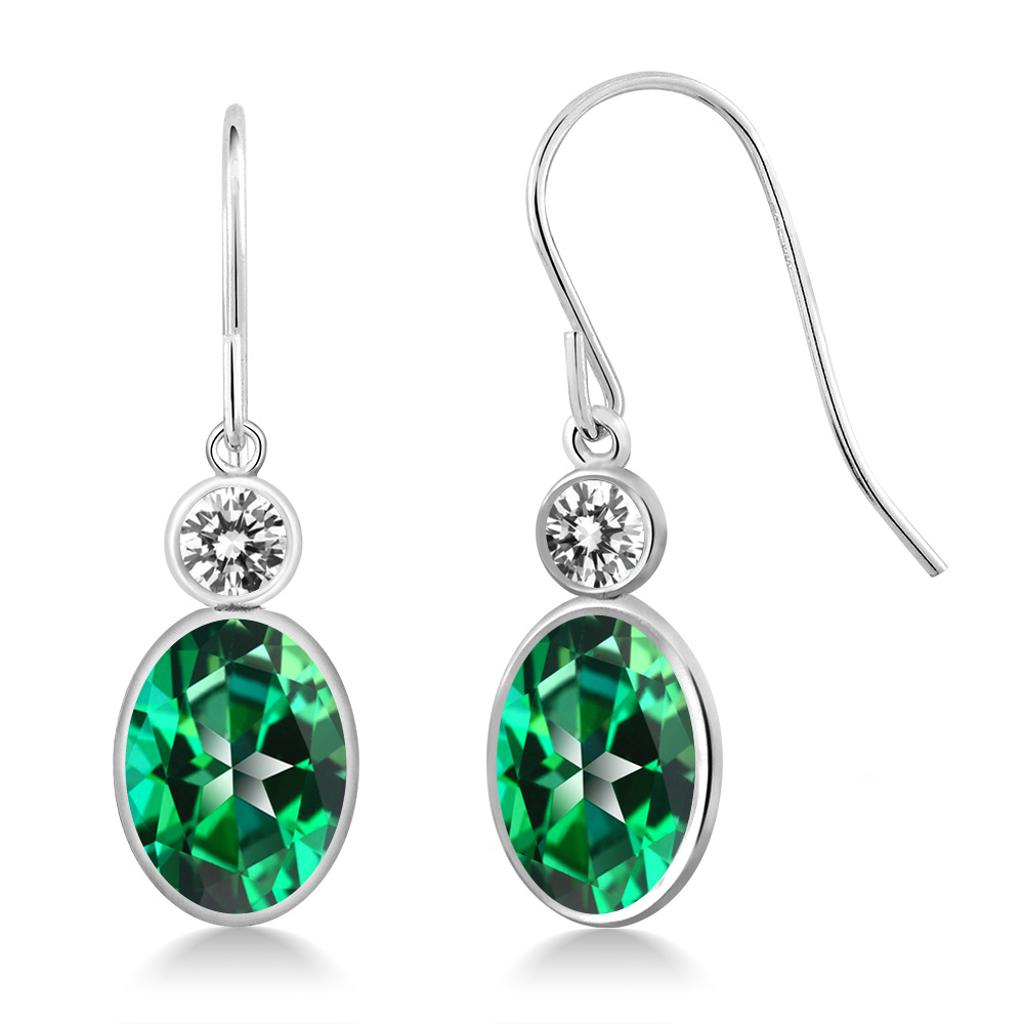 14K White Gold Diamond Earrings Set with Oval Rainforest Topaz from Swarovski