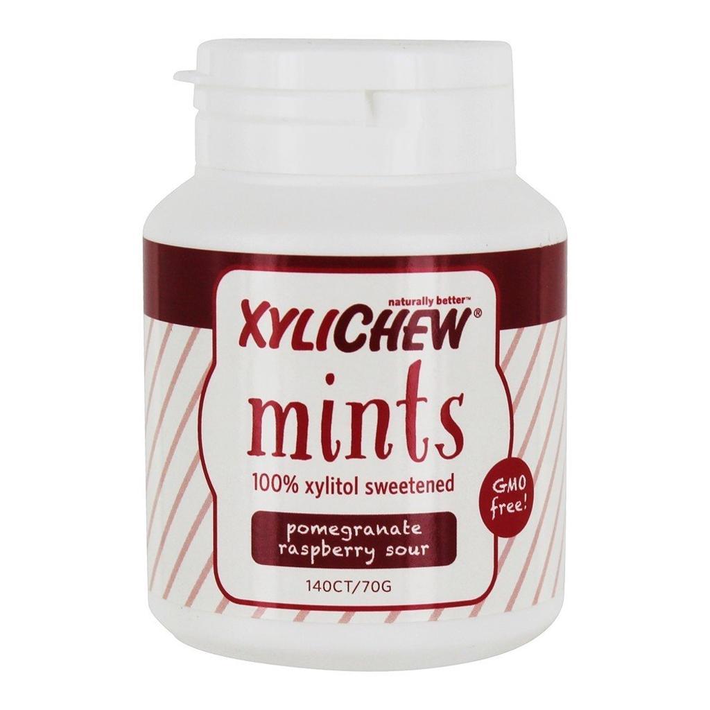XyliChew - 100% Xylitol Sweetened Mints Pomegranate Raspberry