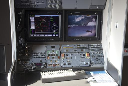 Refueling operator's work station inside of an Airbus A310 Multi-role Tanker Transport aircraft. Poster Print URZMQE0FLEGPLGAA