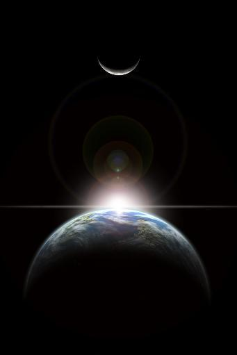 An artist's depiction of a star rising over an Earth-like planet and illuminating it's lone moon Poster Print 1ILL2LRCOHXHUD7L