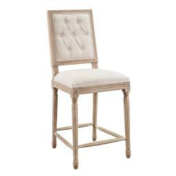 Linon Avalon Linen Tufted Square Back Counter Stool