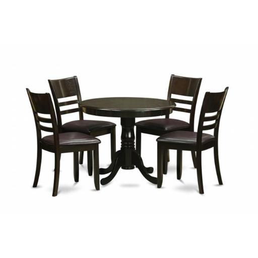 East West Furniture ANLY5-CAP-LC 5 Piece Kitchen Table Set-Round Kitchen Table Plus 4 Dinette Chairs
