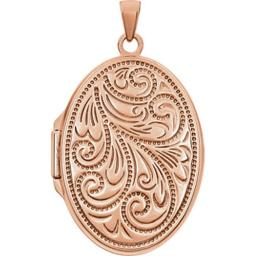 Stuller 21949-238959-P Rose Gold Plated Sterling Silver Oval Locket - 39.5 x 19.5 mm 21949:238959:P