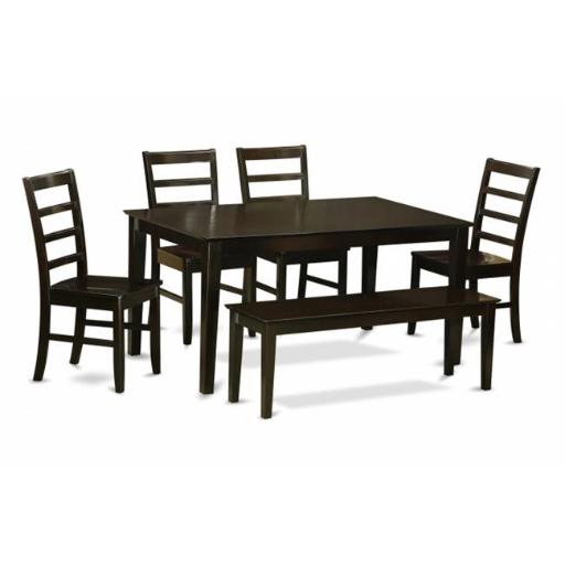 East West Furniture CAPF6-CAP-W 6 Piece Dining Set With Bench Set-Dining Table and 4 Dining Chairs and Bench