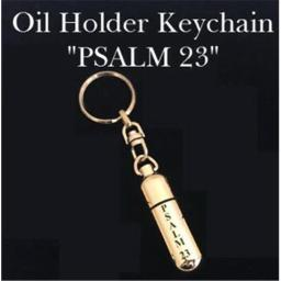 Abba Products 030302 Gold Tone Keychain Oil Holder - Psalm 23