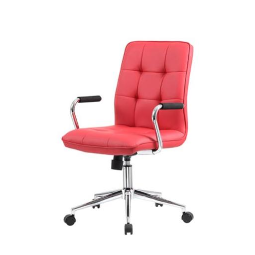 Boss B331-RD Modern Office Chair with Chrome Arms, Red