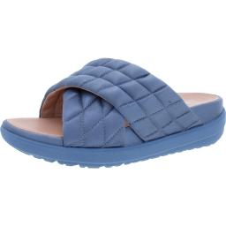 Fitflop Womens Loosh Luxe Cross Quilted Satin Slide Sandals