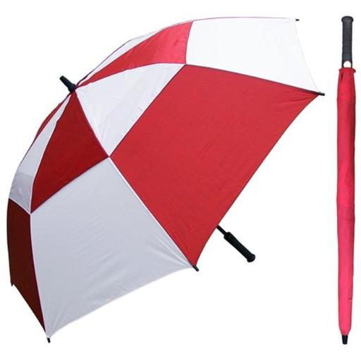 RainStoppers W030RDW 60 in. Auto Open Red & White Wind Buster Golf Umbrella with Golf Grip Handle, 6 Piece