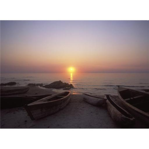 Canoes & Fishing Boats On Beach By Lake Malawi, Sunset Poster Print, 36 x 26 - Large