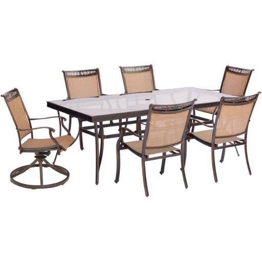 Hanover FNTDN7PCSWG-2 Fontana Dining Set with Sling Swivel Dining Chairs, Glass Dining Table - 7 piece