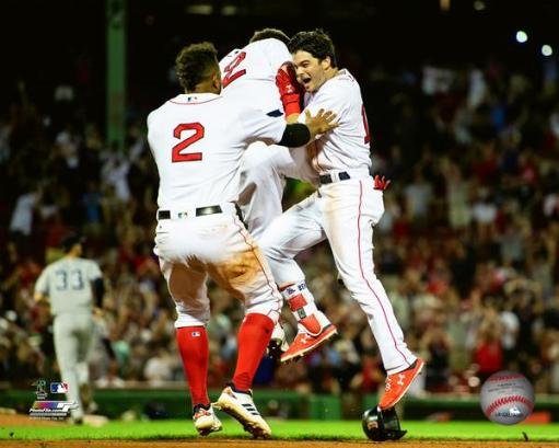 Andrew Benintendi celebrates after game winning walkoff hit to sweep the New York Yankees on August 5th, 2018 Photo Print