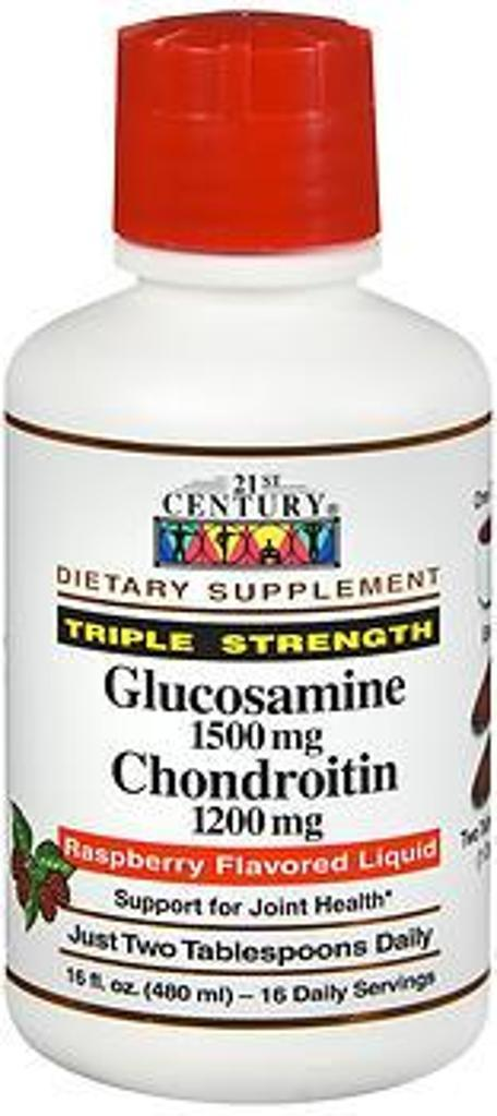21st Century Glucosamine & Chondroitin Triple Strength,  Raspberry Flavored Liquid - 16 oz