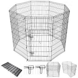 "Yescom 48"" Pet Dog Playpen Exercise Fence Cage Kennel Play Pen with Door 8 Panel Outdoor Indoor"