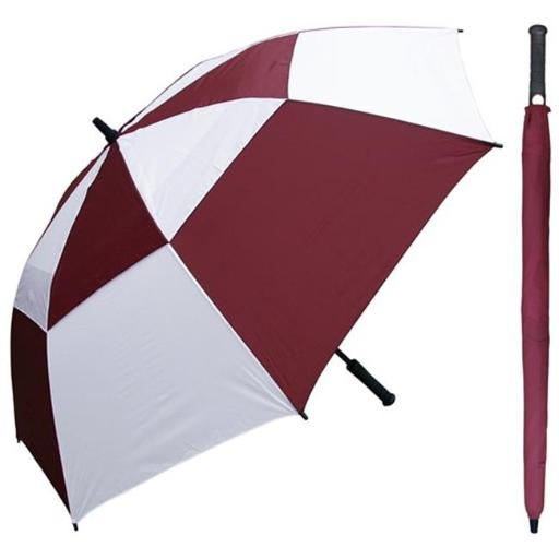RainStoppers W030BGW 60 in. Auto Open Burgundy & White Wind Buster Golf Umbrella with Golf Grip Handle, 6 Piece