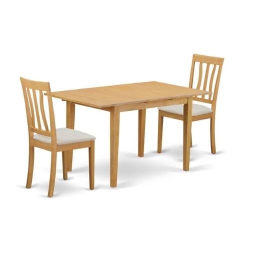 East West Furniture NOAN3-OAK-C Dining Small Dining Table & 2 Kitchen Chair, Oak