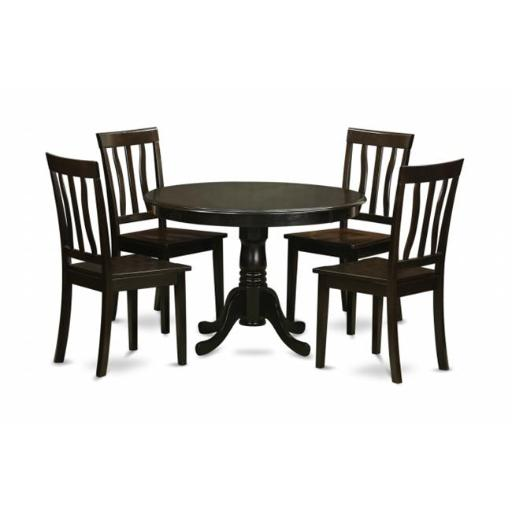 East West Furniture HLAN5-CAP-W 5 Piece Kitchen Table Set-Drop Leaf Table and 4 Dinette Chairs