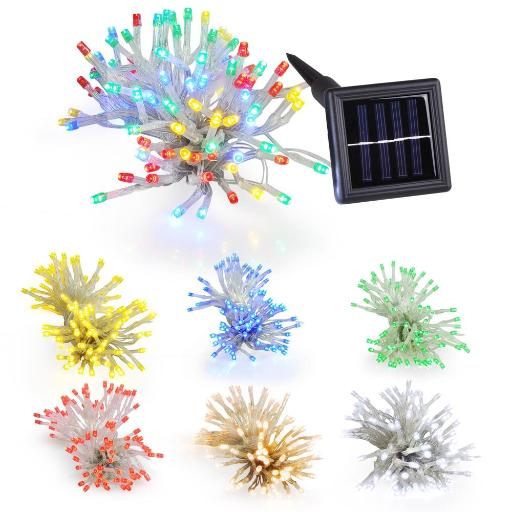 Yescom LEDs Yellow Solar Powered Window String Light Flash+Static Lighting Modes Waterproof Outdoor