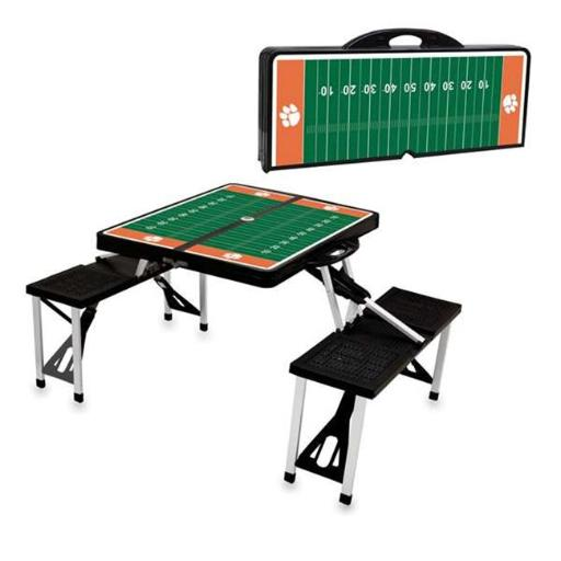 Picnic Time 811-00-175-105-0 Clemson University Tigers Digital Print Portable Folding Picnic Table with Four Seats, Black