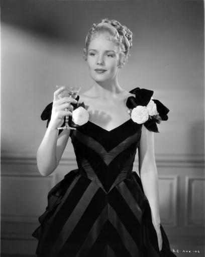 Frances Farmer Dark Dress with Champagne Glass on Hand Photo Print