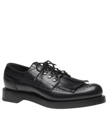 Gucci Men's Lace-up Black Leather Fringed Brogue Shoes 358271 1000