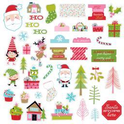 Santa Stops Here Paper Pieces Cardstock Die-Cuts-Ephemera Shapes, Tabs & Words