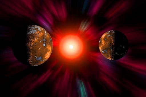 A dramatic solar storm caused by a star in outer space Poster Print by Mark Stevenson/Stocktrek Images