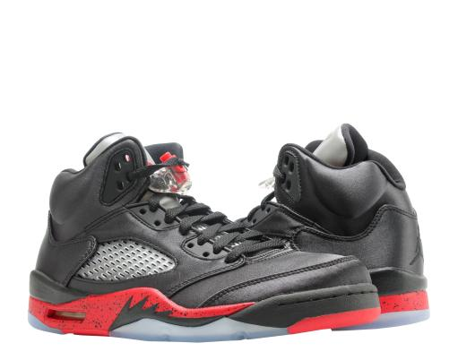 buy popular 67285 8e9c4 Nike Air Jordan 5 Retro Satin Black/Red Mens Basketball Shoes 136027-006