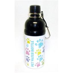 Good Life Gear SF6035-5PW 16 oz. Stainless Steel Pet Water Bottle with Carabineer - Puppy Paws