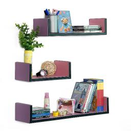 My Lasting Love U-Shaped Leather Wall Shelf / Floating Shelf (Set of 3)