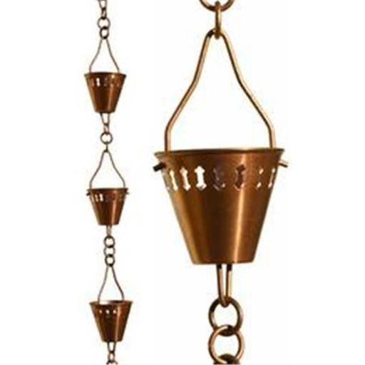 Copper Shade Cup Rain Chain - Half Length