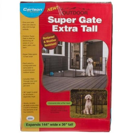 Carlson Pet Gates 480 144 x 36 in. Super Gate with Pet Door - Extra Tall