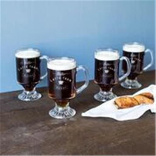 Cathys Concepts LAT-4114 10 oz Better Latte than Never Irish Glass Coffee Mugs - Set of 4