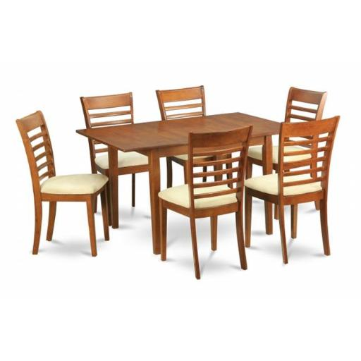 East West Furniture MILA7-SBR-C 7 Piece Kitchen Nook Dining Set-Breakfast Nook and 6 Dining Chairs In Brown