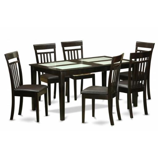 East West Furniture CAP7G-CAP-LC 7 Piece Dining Table Set-Glass Top Table and 6 Dining Chairs