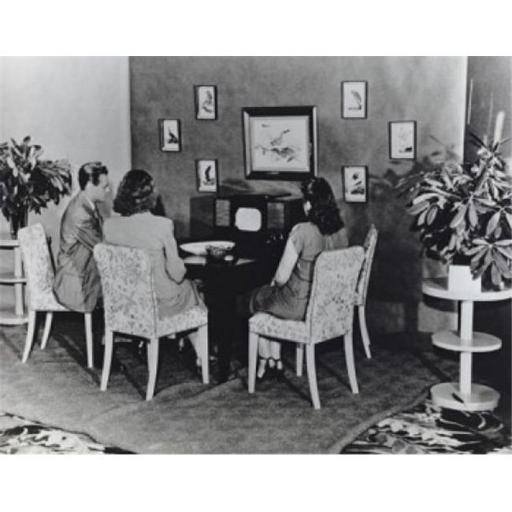 Posterazzi SAL9902075 Family Watching Television on RCAs First Commercially Produced Black & White Television Set Model 630TS - Ca 1946 Poster Print