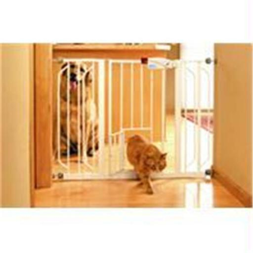Carlson Pet Products-Extra Wide Walk-thru Gate With Pet Door- White 29-44 Inch
