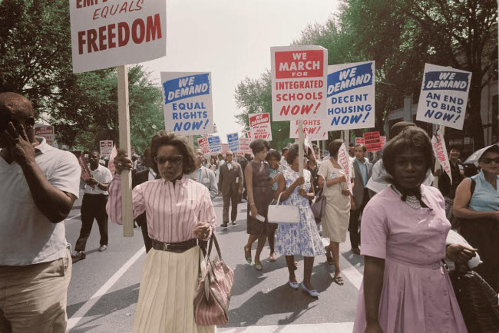 A procession of African Americans carrying signs for equal rights, 1963 Poster Print by Stocktrek Images