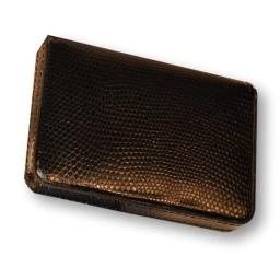 Lizard Printed Leather Business Card Case - Black