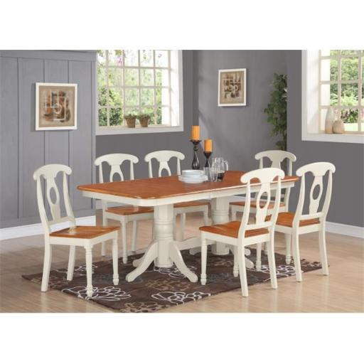 East West Furniture NAKE7-WHI-W 7 Piece Dining Room Set For 6-Dining Table With A Leaf and 6 Dining Chairs