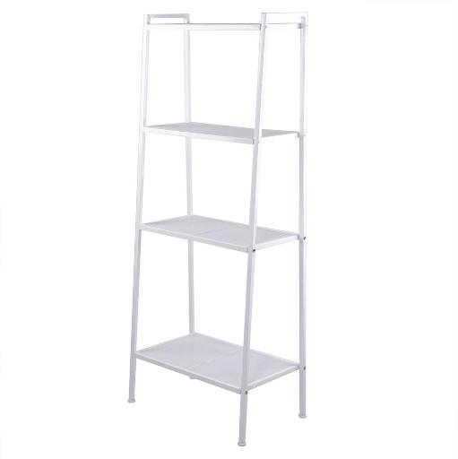 Yescom 4 Tier Metal Ladder Shelf Bookshelf Bookcase Leaning Storage Rack A Frame Corner Display Plant Vertical White
