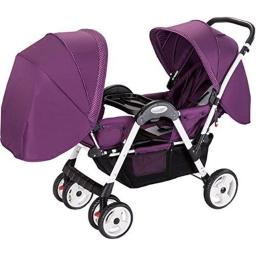 Amoroso 45749 burgundy 8 x 4 in. & 10 x 2 in. Luxuries Twin stroller, Burgundy
