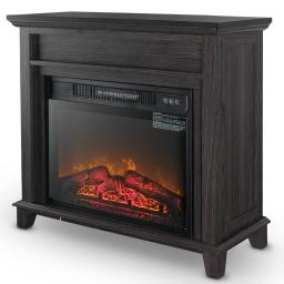 DELLA 28 Inch Portable Electric Fireplace with Realistic Fire and Logs, Adjustable 1400W 400 Sq Ft Space Heater (Gray)