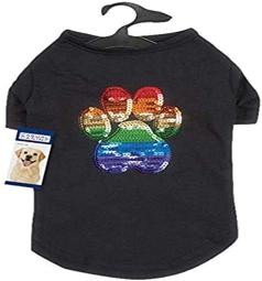 Casual Canine Puppy Pride Sequin Upf40 Tee Shirt For Dogs, Large, Black