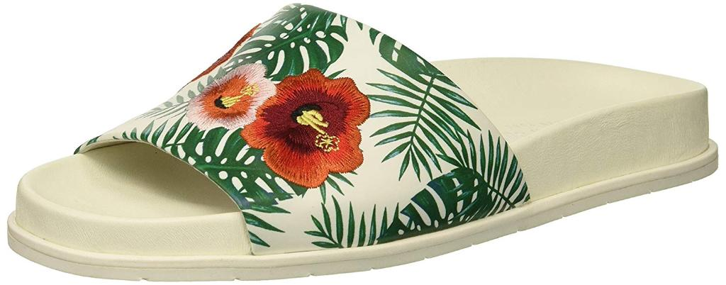 0ce228863ff4b Kenneth Cole New York Women s Xenia Palm Print Embroidered Pool Slide Sandal