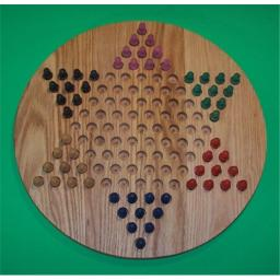 Charlies Woodshop W-1925.5 PEG 18 in. Circle Oiled Chinese Checkers Wooden PEG Game Board, Red Oak