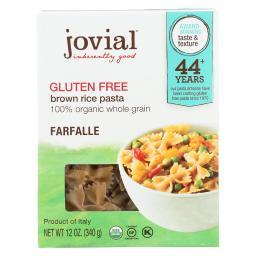 Jovial Gluten Free Brown Rice Pasta - Farfalle - Case of 12 - 12 oz.