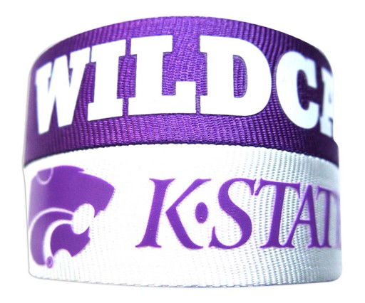Sports Team Logo Kansas State Wildcats Slap Snap Wrap Wrist Band (Set of 2) NCAA