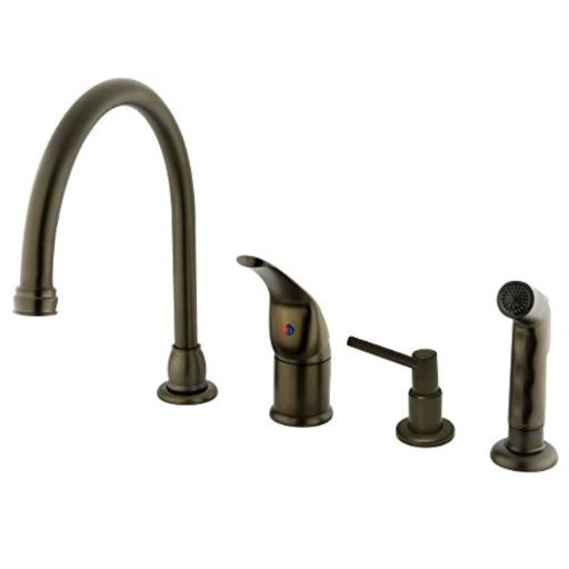 Kingston Brass Kb825K5 Single Handle Kitchen Faucet With Side Spray And Soap Dispenser - Oil Rubbed Bronze Finish