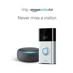 Ring Wi-Fi Enabled Video Doorbell in Satin Nickel with Echo Dot 3rd Gen Charcoal Gray