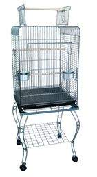 """YML 24"""" Open top Parrot Cage With Stand in Antique Silver"""